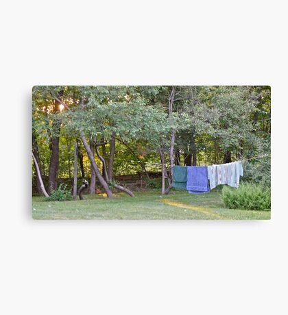 Clothes Line At Dusk - Sun Sets On Damp Towels Canvas Print