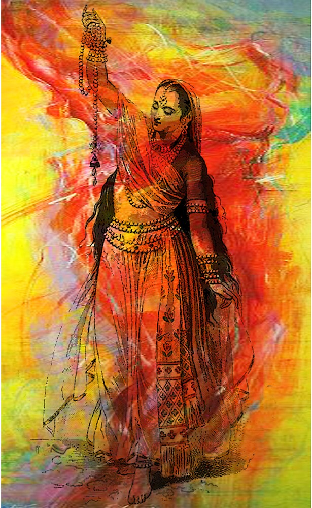 WOMAN OF INDIA WITH SACRED BEADS by Tammera