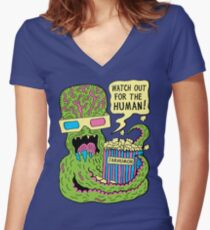 Alien Monster Movie Women's Fitted V-Neck T-Shirt