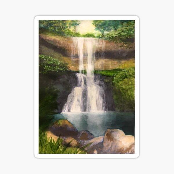 """silver falls"" - original painting by mjh, 06-22-2019 Sticker"