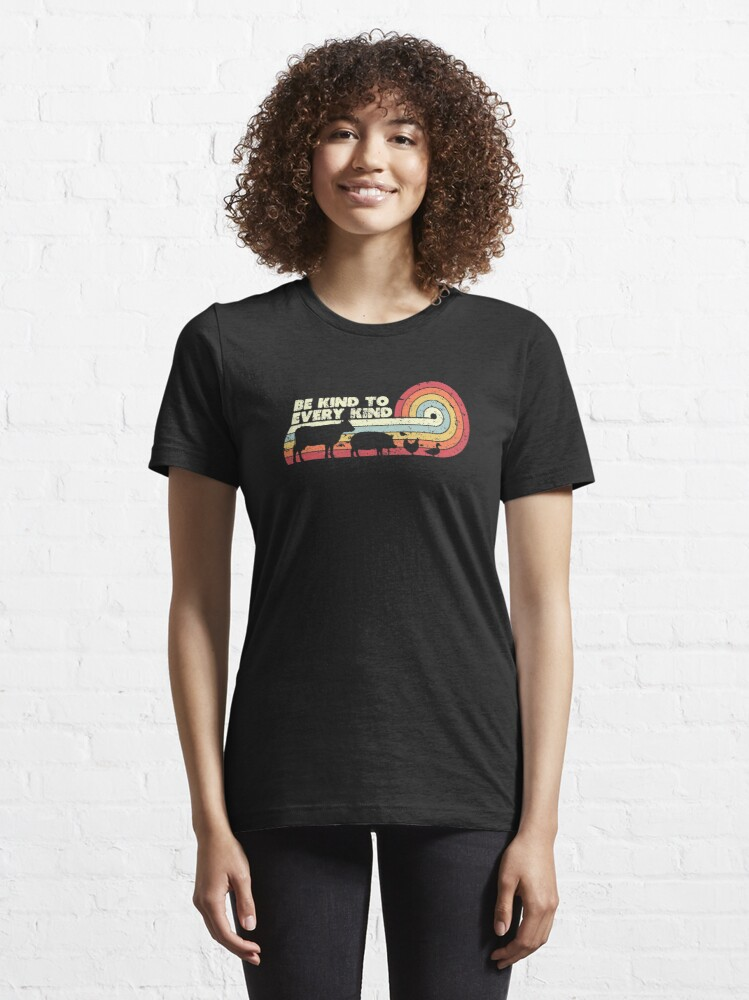 Alternate view of Be Kind To Every Kind Product, Vegan Vegetarian Retro Tee Essential T-Shirt