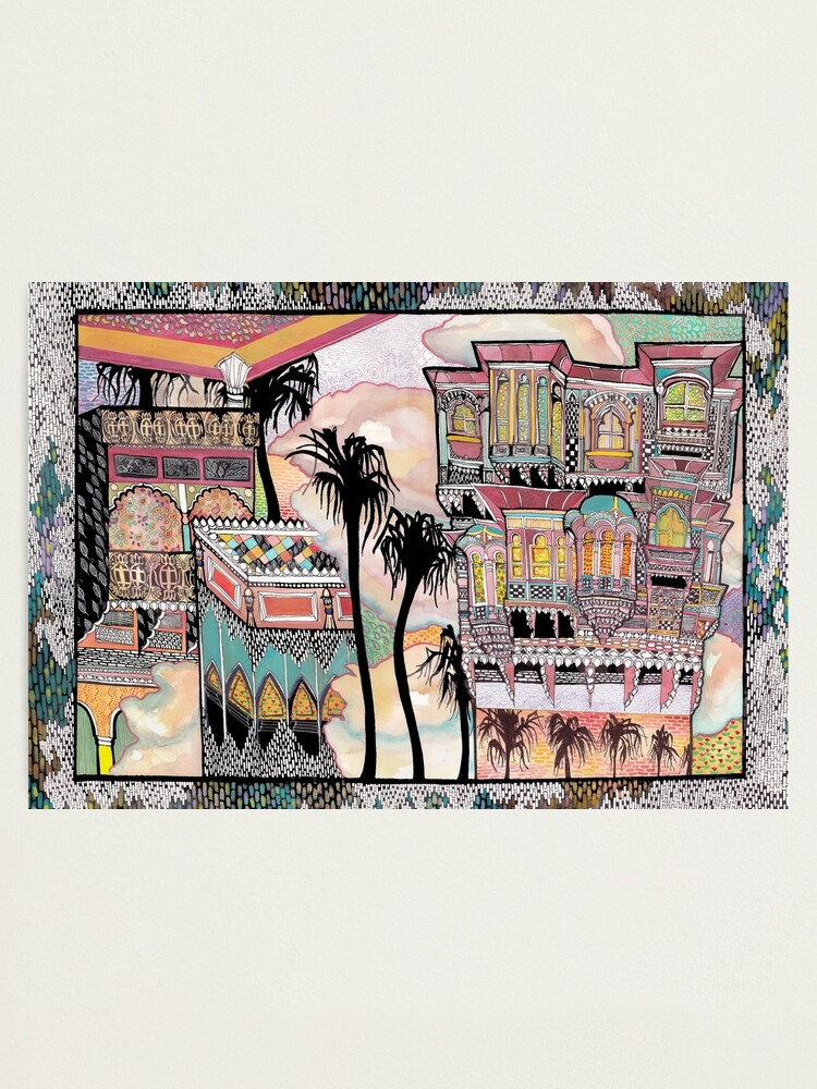 Alternate view of Palm Trees and Havelis Photographic Print