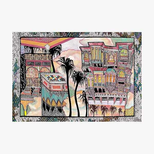 Palm Trees and Havelis Photographic Print