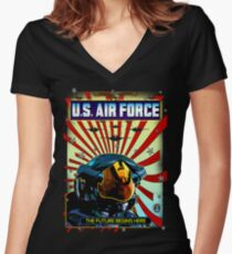 THE U.S. AIR FORCE Women's Fitted V-Neck T-Shirt