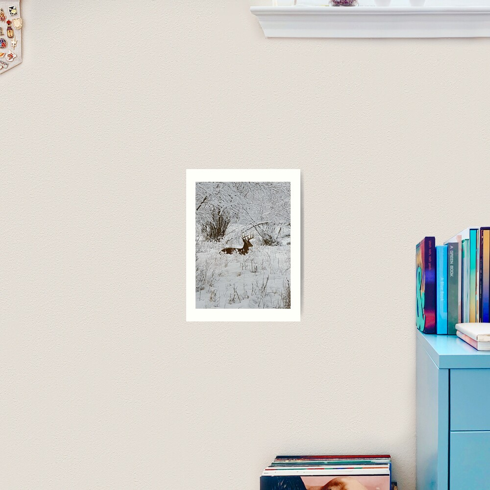 Deer in the Snowy Forest Art Print
