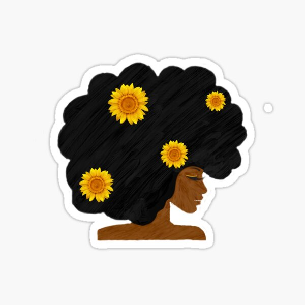 Natural Black Woman with Sunflowers Sticker
