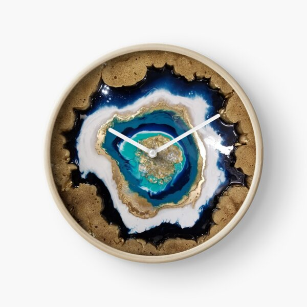 Teal and Gold Geode Clock