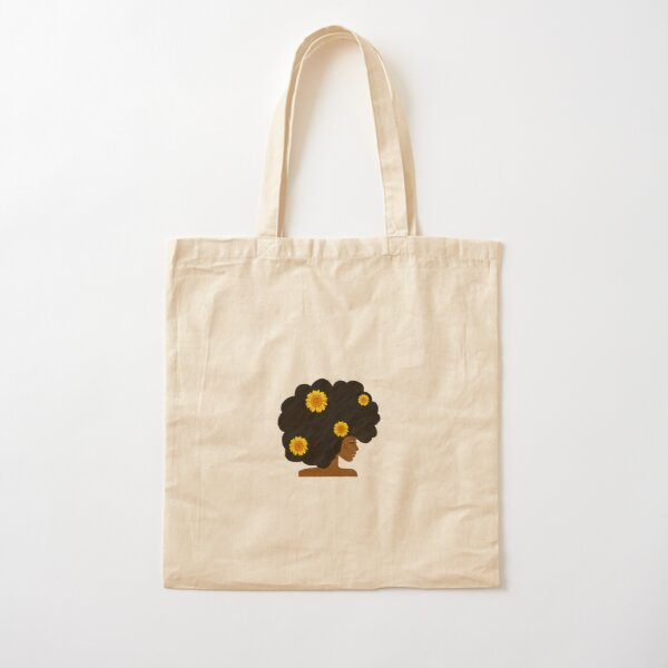 Natural Black Woman with Sunflowers Cotton Tote Bag
