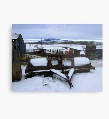 Farmyard metal - Christmas day snowscape Metal Print