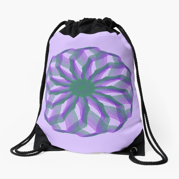 Spirograph with green and violet Drawstring Bag