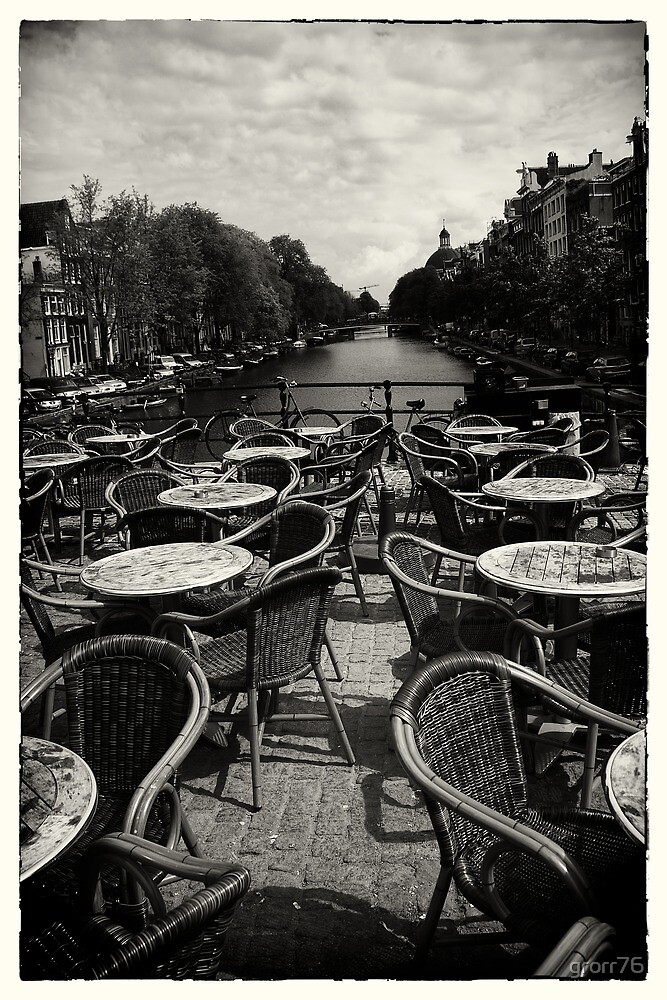 Amsterdam chairs on bridge by grorr76