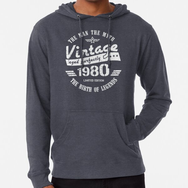 Vintage 1980 - 40th Birthday Gift For Men Lightweight Hoodie