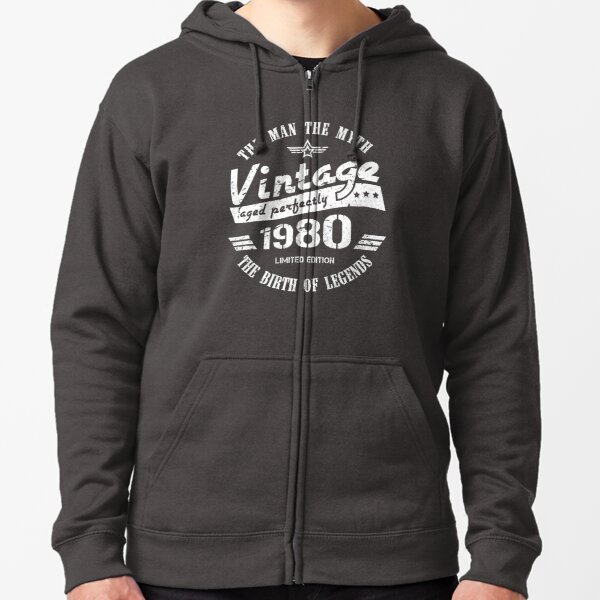 Vintage 1980 - 40th Birthday Gift For Men Zipped Hoodie
