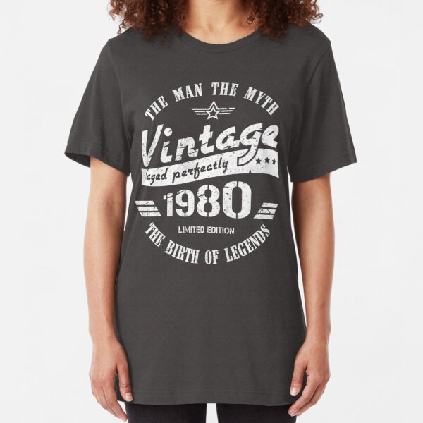 Vintage 1980 - 40th Birthday Gift For Men Slim Fit T-Shirt