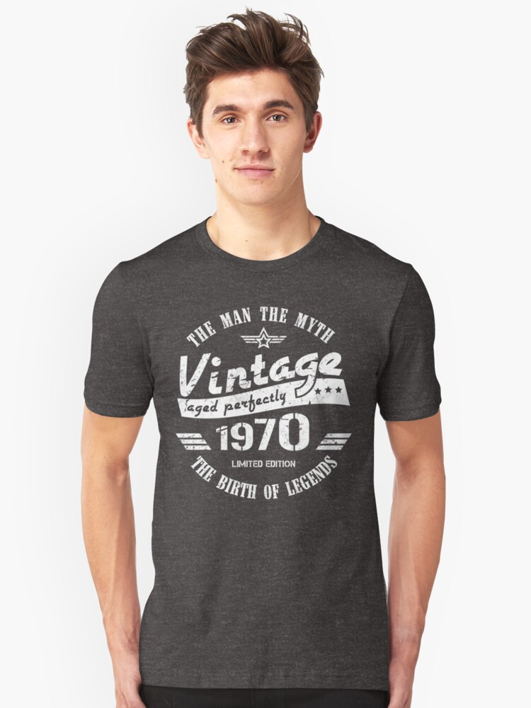 50th Birthday Gift Shirt Vintage Aged to Perfection 1970 Distressed