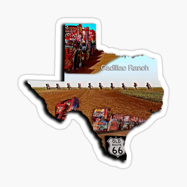 Cadillac Ranch on Route 66 - Texas Shape Filled with 3 Cadillac Ranch Images Sticker
