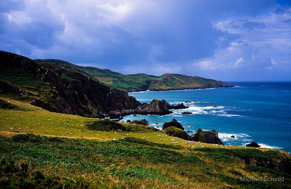 Devon coast on a sunny day by Michael Schmid