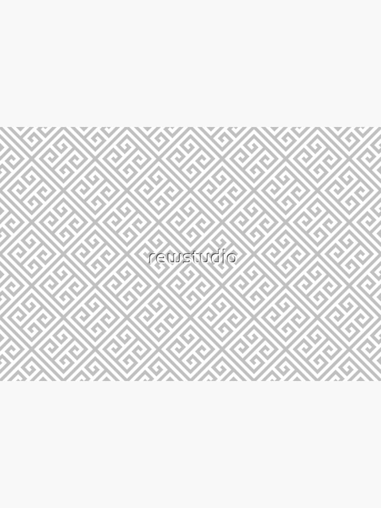 Greek Key Silver Gray And White Diagonal Pattern by rewstudio