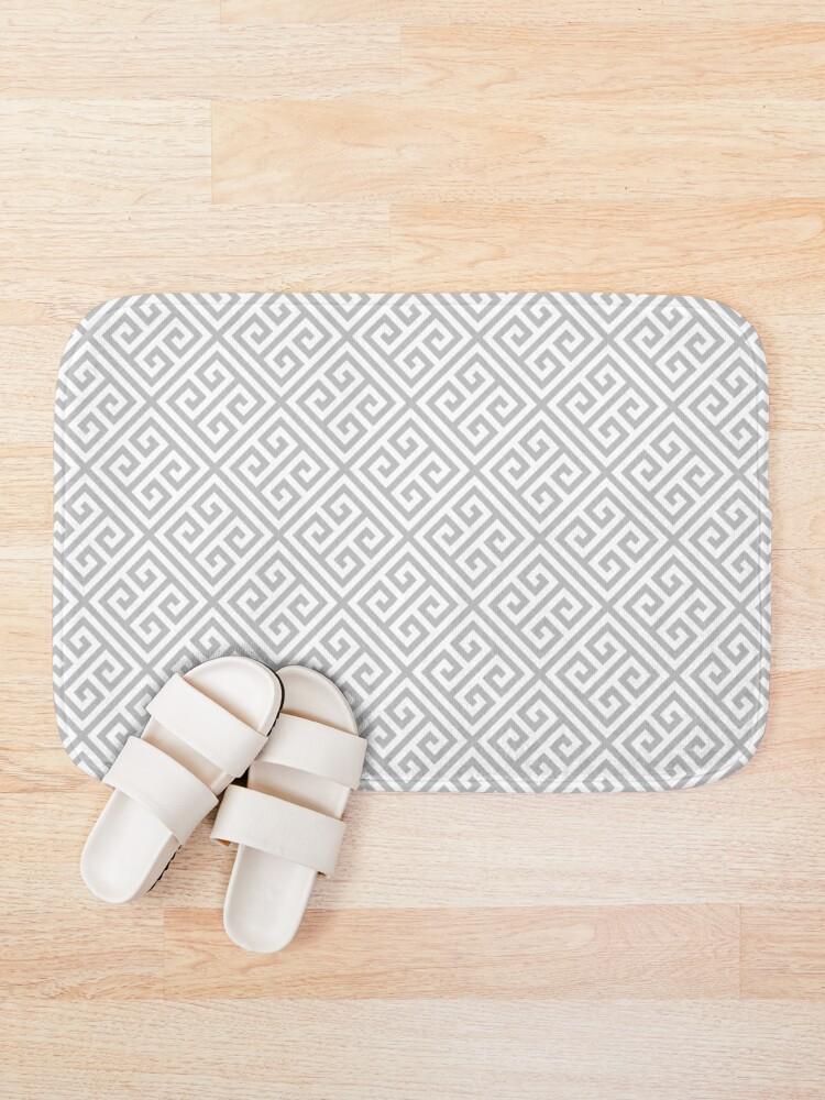 Alternate view of Greek Key Silver Gray And White Diagonal Pattern Bath Mat