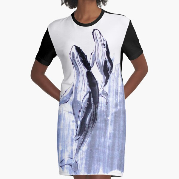 Humpback whale mom and baby sumie painting Graphic T-Shirt Dress