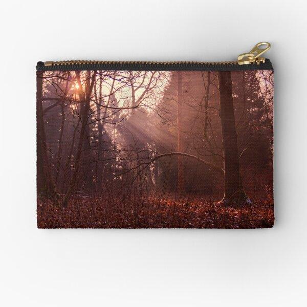 golden foggy winter morning Zipper Pouch