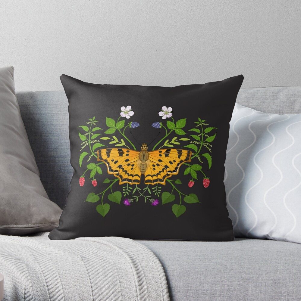Butterfly with berries Throw Pillow