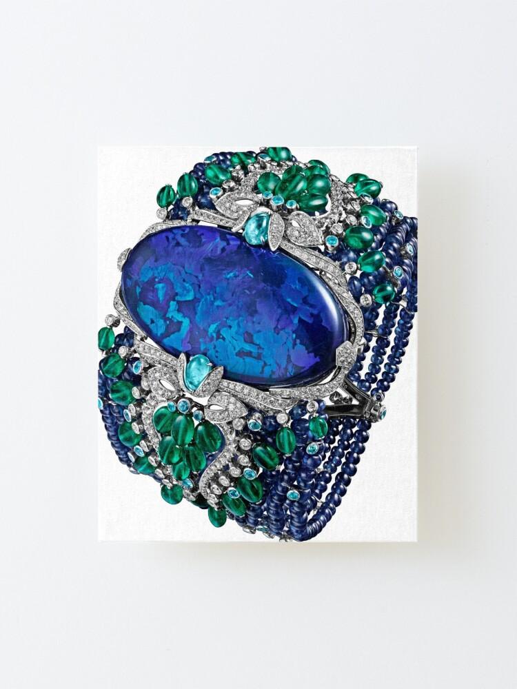 Alternate view of HIGH JEWELRY BRACELET ... Platinum, opal, sapphires, emeralds, Paraiba tourmalines Mounted Print
