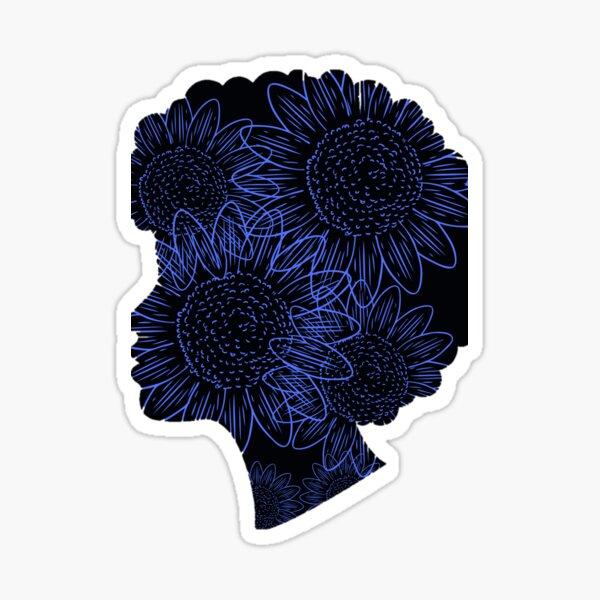 BLACK MINDS MATTER purple sunflower  Sticker