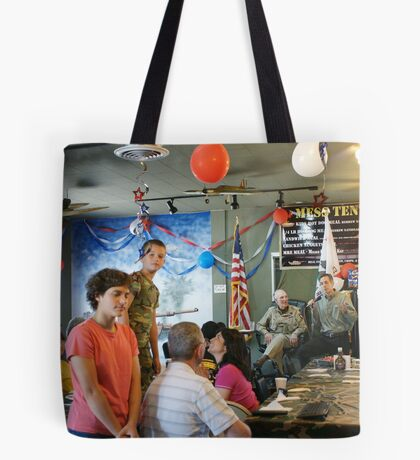 """Lunch with a """"Hero"""" & the children came! The Mess Tent Cafe' Oxman's Santa Fe Springs, CA USA Tote Bag"""