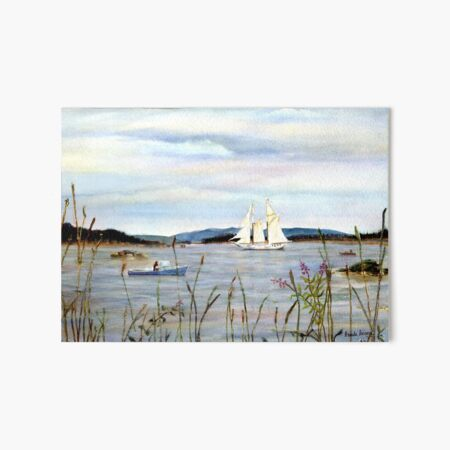 Stonington Harbor, Maine Coast windjammer sailboat from original watercolor painting by Pamela Parsons Art Board Print