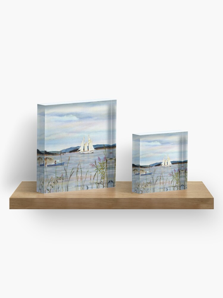 Alternate view of Stonington Harbor, Maine Coast windjammer sailboat from original watercolor painting by Pamela Parsons Acrylic Block