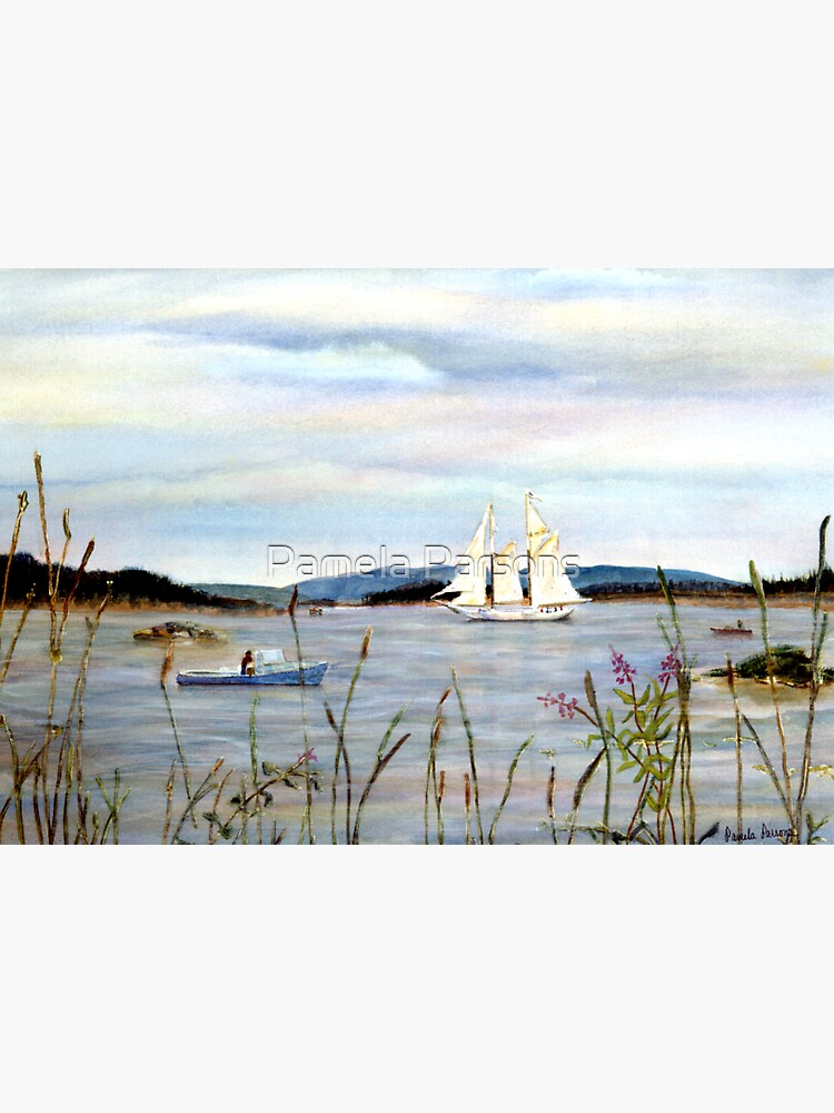 Stonington Harbor, Maine Coast windjammer sailboat from original watercolor painting by Pamela Parsons by parsonsp