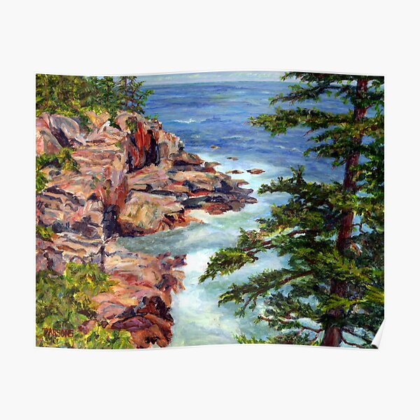 Thunder Hole, Arcadia National Park, Ocean island cliffs on the Maine Coast. From original oil painting by Pamela Parsons Poster