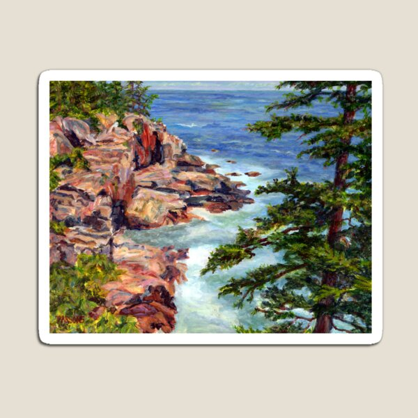Thunder Hole, Arcadia National Park, Ocean island cliffs on the Maine Coast. From original oil painting by Pamela Parsons Magnet