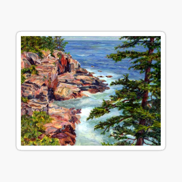 Thunder Hole, Arcadia National Park, Ocean island cliffs on the Maine Coast. From original oil painting by Pamela Parsons Sticker