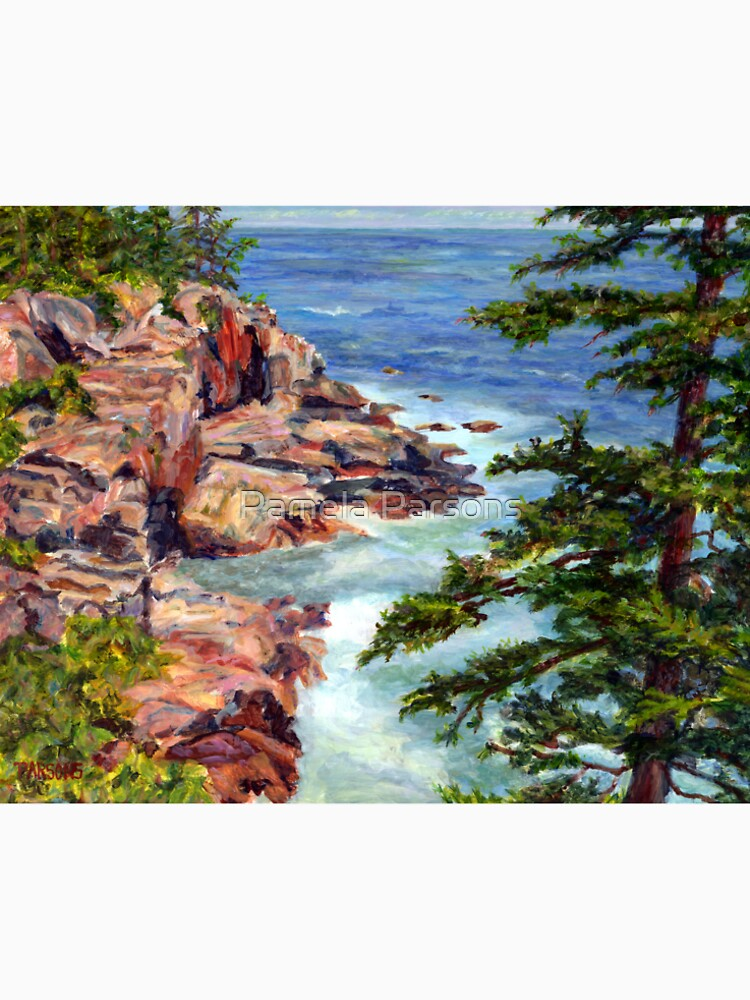 Thunder Hole, Arcadia National Park, Ocean island cliffs on the Maine Coast. From original oil painting by Pamela Parsons by parsonsp