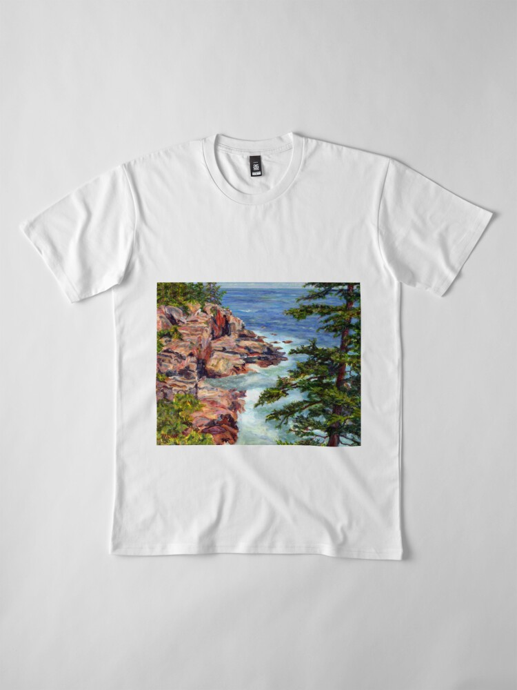 Alternate view of Thunder Hole, Arcadia National Park, Ocean island cliffs on the Maine Coast. From original oil painting by Pamela Parsons Premium T-Shirt