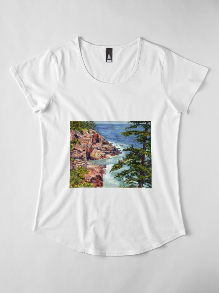 Alternate view of Thunder Hole, Arcadia National Park, Ocean island cliffs on the Maine Coast. From original oil painting by Pamela Parsons Premium Scoop T-Shirt
