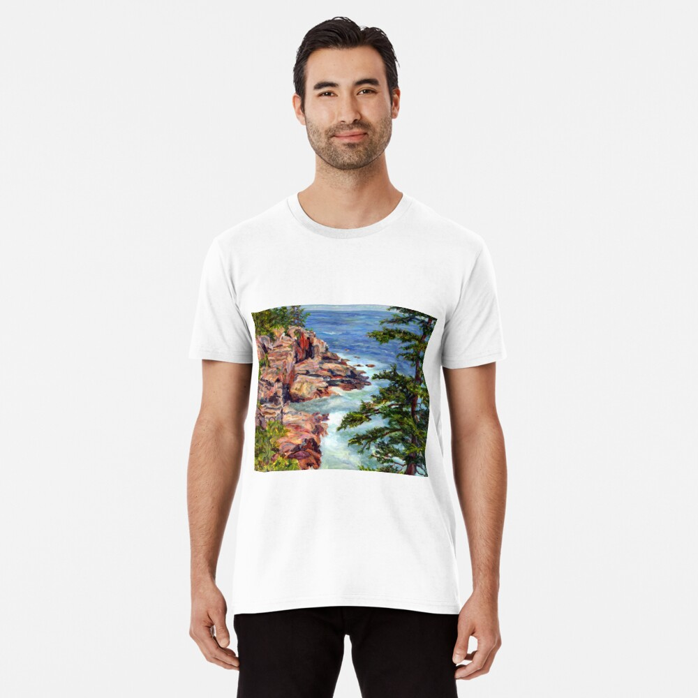 Thunder Hole, Arcadia National Park, Ocean island cliffs on the Maine Coast. From original oil painting by Pamela Parsons Premium T-Shirt