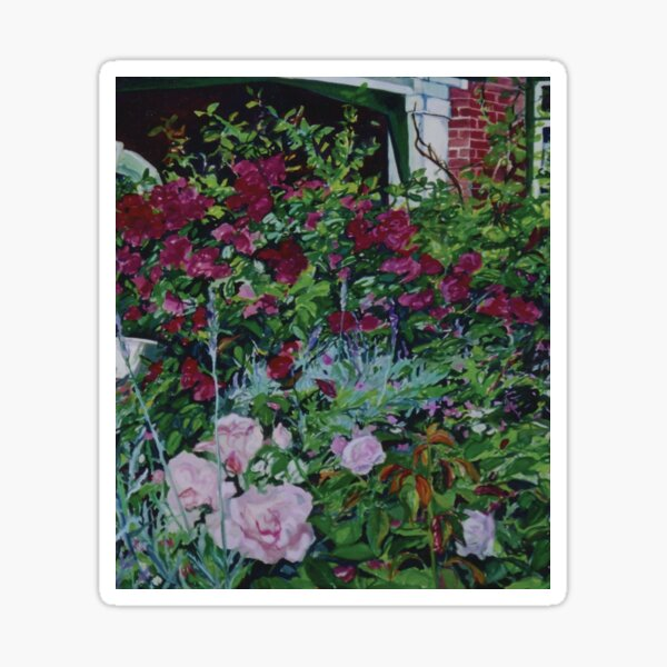 Ruth and Ken's rose garden  from a gouache painting by Jo Reitze Sticker