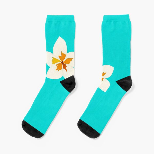 White Tropical Flowers Socks