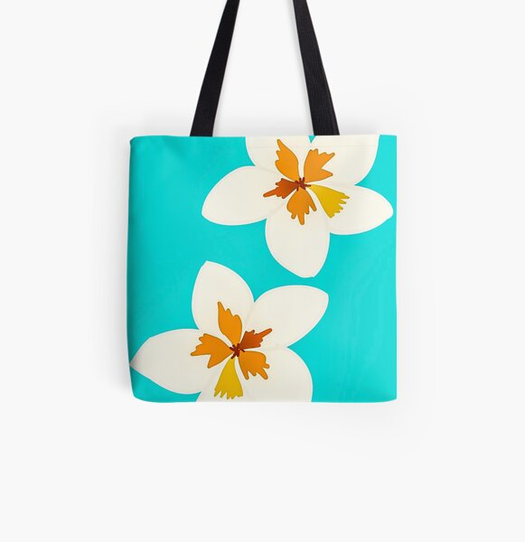 White Tropical Flowers All Over Print Tote Bag
