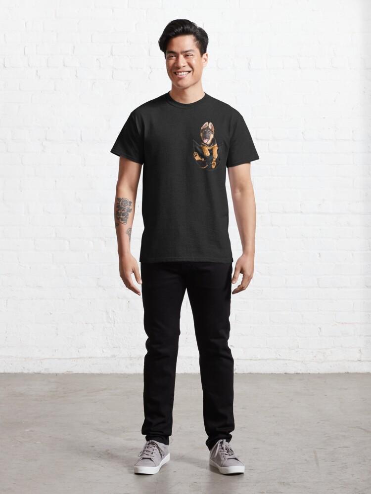 Alternate view of Funny Dog In Pocket Meme Shirt German Shepherd Puppy Owners T Shirt Classic T-Shirt