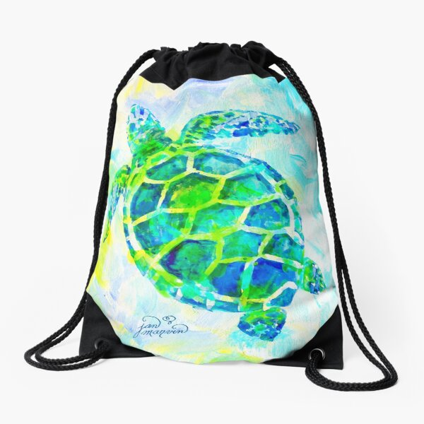 Sea Turtle with background by Jan Marvin Drawstring Bag