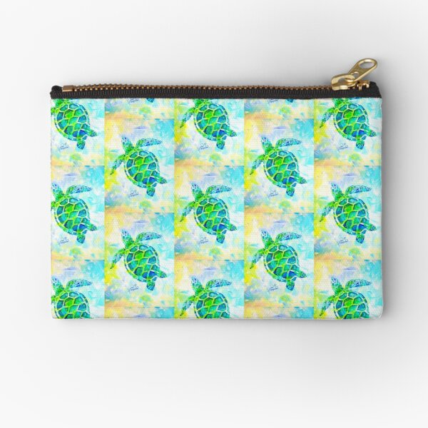 Sea Turtle with background by Jan Marvin Zipper Pouch