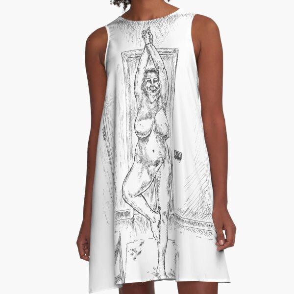Yoga Stance Grin A-Line Dress