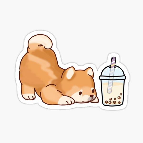 Cute Little Shiba Loves Boba! Sticker