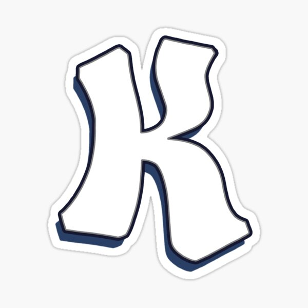 Letter K - White Sticker