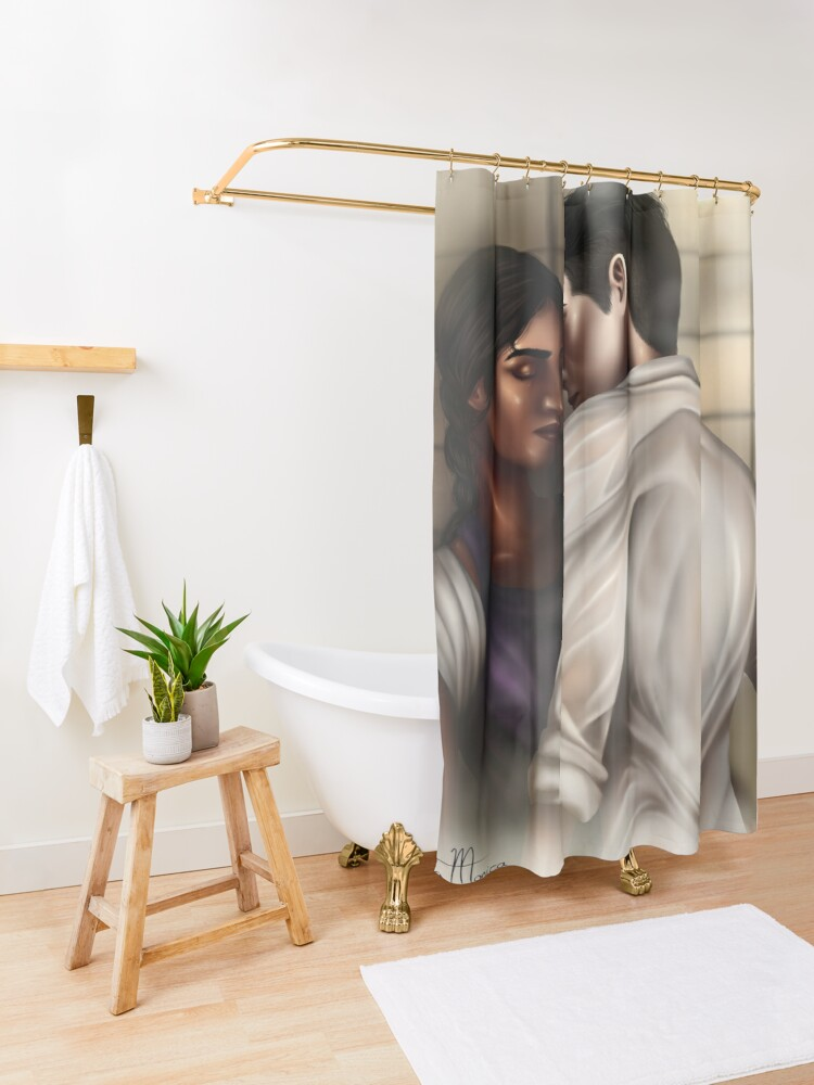 Alternate view of Inej and Kaz Shower Curtain