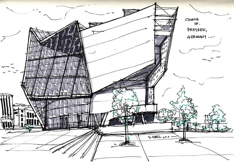 Architecture Sketch UFA Cinema In Dresden Germany By Vernelle Noel